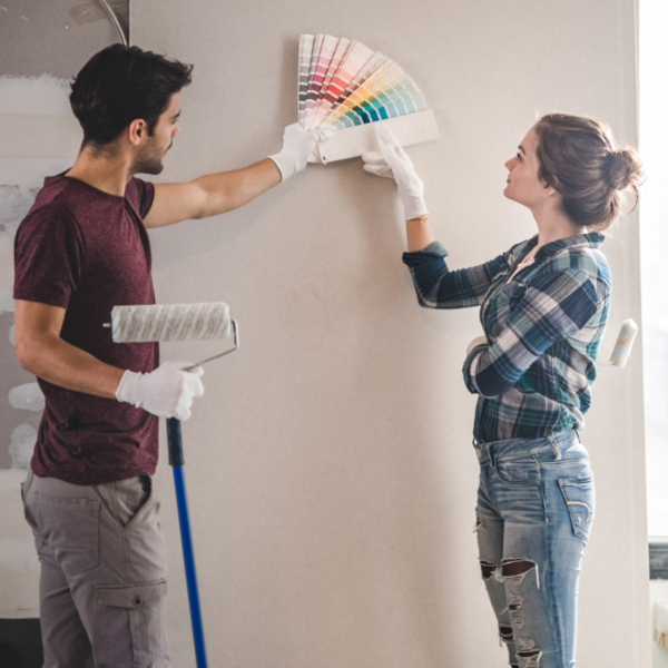Couple picking out paint colors