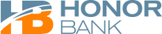 Blue and dark orange Honor Bank logo with the words Honor Bank to the right